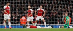 Granit Xhaka, Sead Kolasinac, Shkodran Mustafi, Rob Holding and Bernd Leno after Milner's goal.