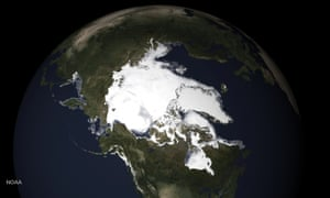 Noaa image showing the extent of sea ice and snow melt in northern Alaska this spring