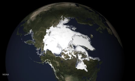 Image showing the extent of this spring's sea ice and snow melt in northern Alaska