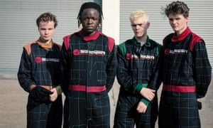 'Hard to avoid a sensation of po-faced seriousness' ... (L-R) Geordie Greep, Morgan Simpson, Cameron Picton and Matt Kelvin of Black Midi.