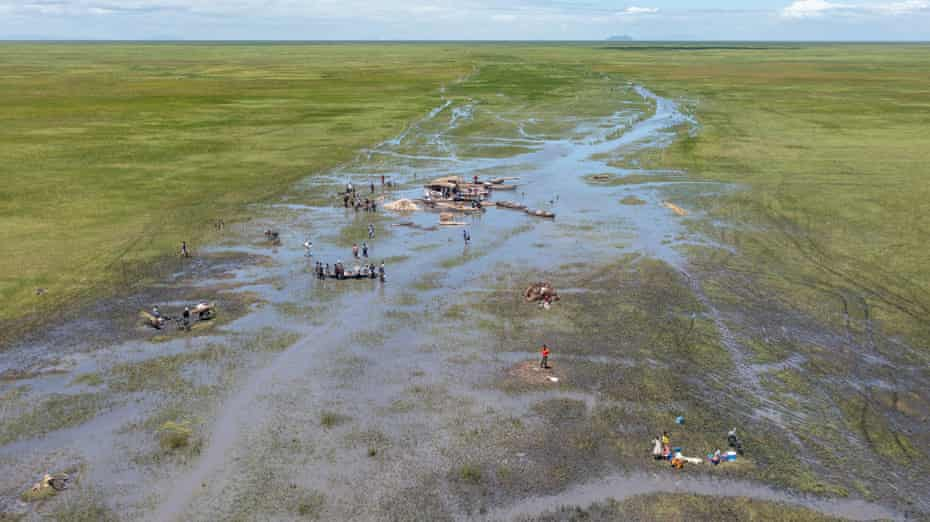 Ntila market on Lake Chilwa during the rainy season when the waters should be high, March 2021