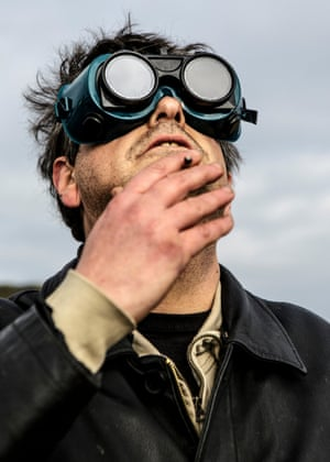 Shayler watching an eclipse in Yorkshire, on the spot where he delivered a Sermon on the Mount in 2008