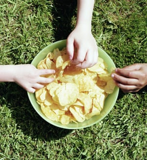 A bowl of potato chips