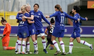 Chelsea have made a habit of coming from behind to win, including against Reading last week when Erin Cuthbert (second right) scored their third goal.