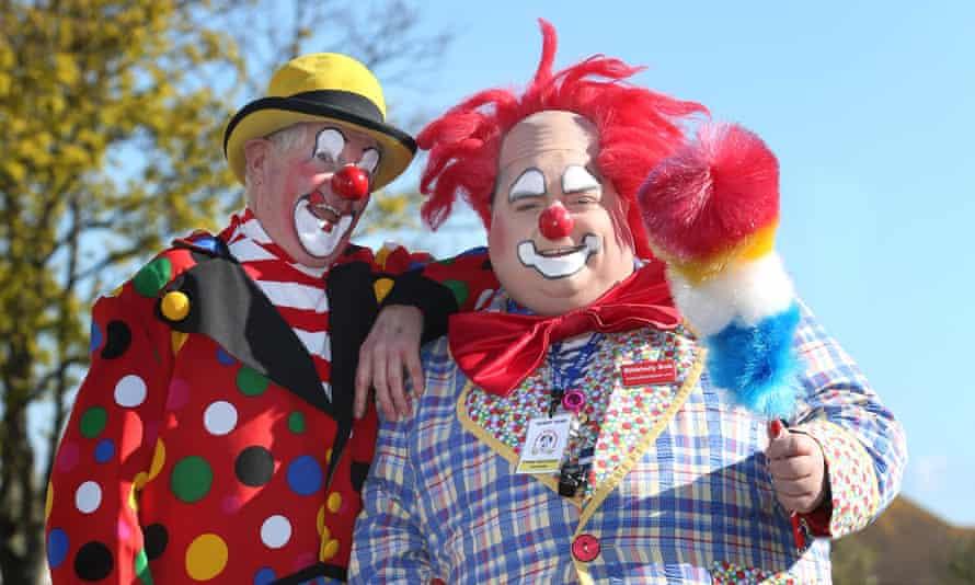Clowns Bibbledy Bob, (red hair) and Clown Bluey, (yellow hat) pictured entertaining children in Bognor Regis, West Sussex