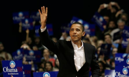 Barack Obama waves to the crowd during a rally at the University of Illinois at Chicago in February 2007.