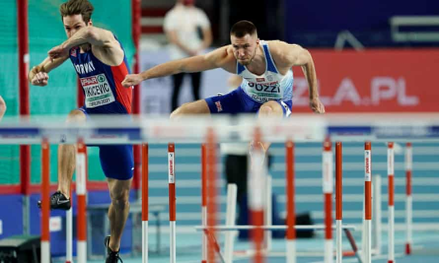 Andrew Pozzi won silver for Great Britain in the 60m hurdles