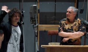 Paul Buckmaster, right, with Jamie Cullum at Capitol Studios, Los Angeles, in 2008.