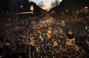 Pro-independence demonstrators in Barcelona