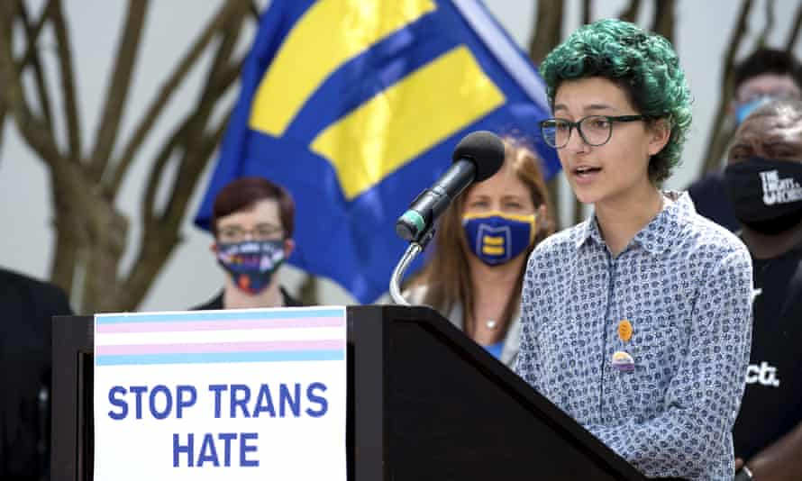 Elijah Baay, a trans person, speaks at the #LoveALTransYouth Press Conference on 30 March in Montgomery, Alabama.