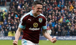 Robbie Brady celebrates scoring Burnley's equaliser against Chelsea from a free-kick.
