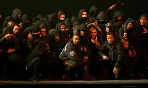 Shutdown? … Kanye West on stage with a group of UK grime MCs at the 2015 Brit awards.