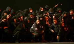 Brit spirit … Kanye West joined by a who's who of British grime MCs at last year's Brits.