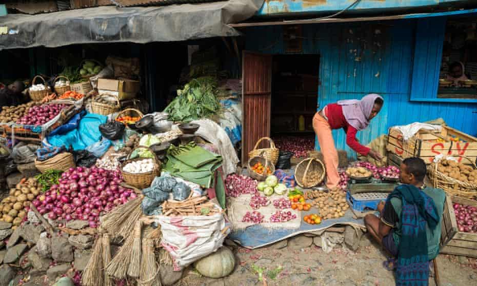 A vegetable seller at Dessie market in northern Ethiopia.