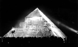 The first Pyramid stage at Glastonbury Festival, 1971.