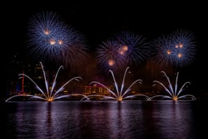 Fireworks lighting the sky during celebrations to mark the New Year's eve celebrations in Abu Dhabi.
