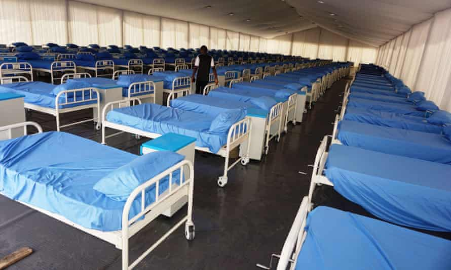 A coronavirus isolation centre is prepared at the Sani Abacha stadium in Kano, Nigeria.