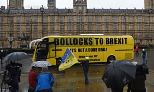 A 'Bollocks to Brexit' outside the Houses of Parliament today. Anti-Brexit campaigners are going to take it on a tour around cities in the UK.