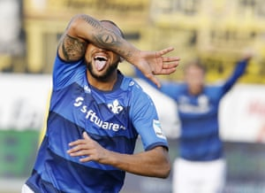 Darmstadt's Terrence Boyd celebrates his side's opening goal.
