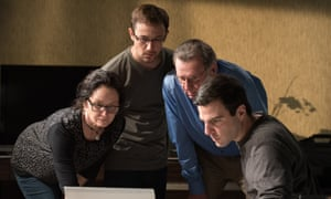 'Virtually every directorial choice is aimed at making Snowden's life seem more conventional and it results in most scenes feeling like lifeless constructs' ... Melissa Leo, Joseph Gordon-Levitt, Tom Wilkinson and Zachary Quinto in Snowden.
