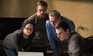 Snowden: in a mocked-up room at the Mira hotel in Hong Kong with (left to right) Laura Poitras (Melissa Leo), Edward Snowden (Joseph Gordon-Levitt), Ewen MacAskill (Tom Wilkinson) and Glenn Greenwald (Zachary Quinto).