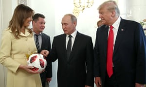 Melania Trump holds World cup football that Vladimir Putin gifted to the US president