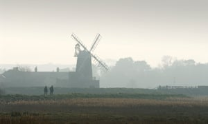 A windmill in the mist at Cley marshes.