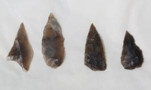 Flint arrowheads found on the site