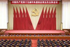 Beijing, China President Xi Jinping, centre, leads the fifth plenary session of the 19th Central Committee of the Communist Party. China's leaders are vowing to make their country a self-reliant technology power after a meeting to draft a development blueprint for the economy over the next five years