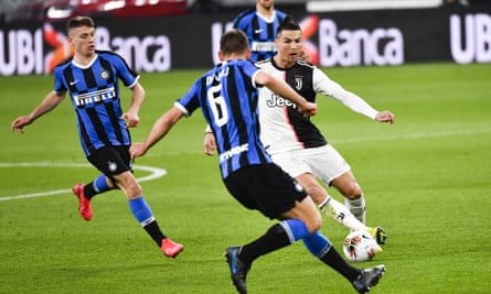 Cristiano Ronaldo in action for Juventus against Internazionale. There has been no football in Serie A since March.