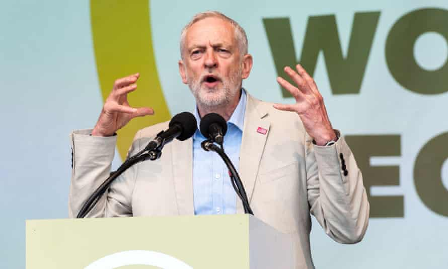 Jeremy Corbyn at a TUC rally last year. 'We're in the odd position where it would be madness for a potential incoming prime minister to address this rally and madness for Jeremy Corbyn not to'