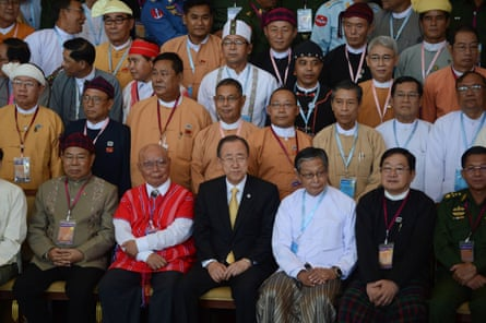 UN secretary general Ban Ki-moon with Myanmar ethnic rebel leaders and others during the opening of a peace conference in Naypyidaw, 31 August.