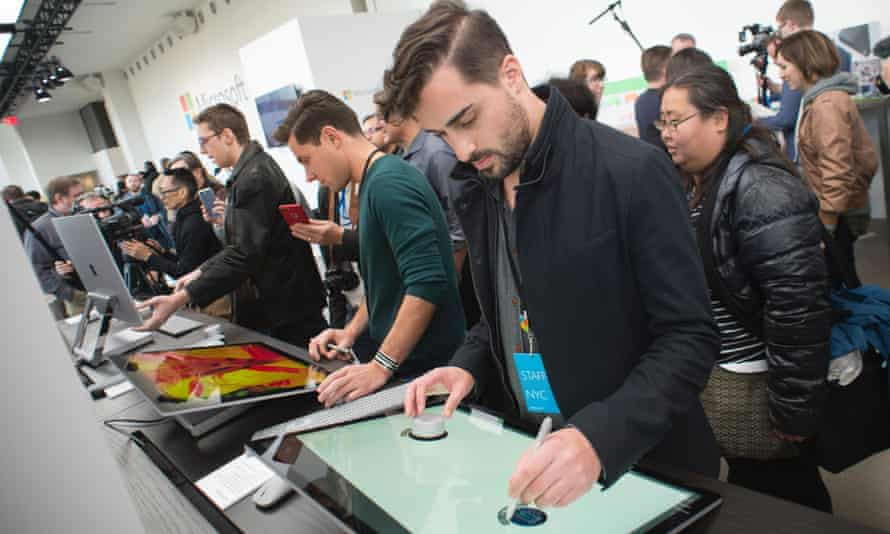 Journalists and Microsoft fans get a look at the new Microsoft Surface Studio in New York.
