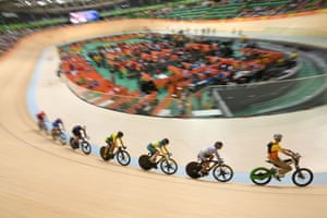 Hong Kong's Lee Wai Sze leads the second round of the women's Keirin.
