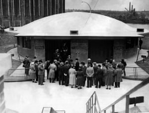 July 1951. Dignitaries and officials wait to enter the new pedestrian and cycle tunnels after the opening ceremony