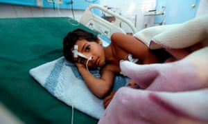 A Yemeni child suffering from diphtheria receives treatment at a hospital in the capital Sanaa.