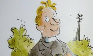 Quentin Blake's illustration of Rev Robert Lee for Roald Dahl's The Vicar of Nibbleswicke.