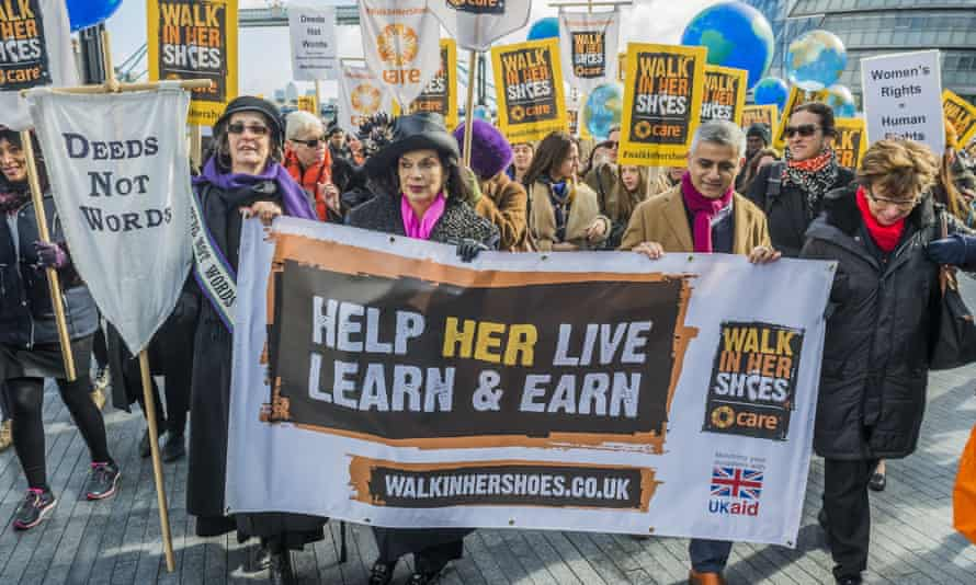 Jagger marching for International Women's Day in London.