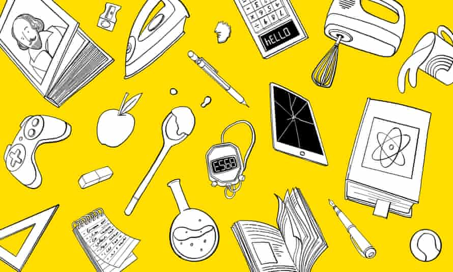 Illustration of book, game console, calculator, iron, notebook, spoon, mug, pen, ball