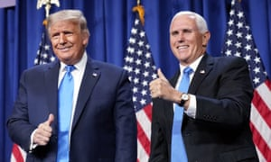 Trump and Pence at the convention last week. It appears Trump could be in a position to announce that a vaccine is imminent.