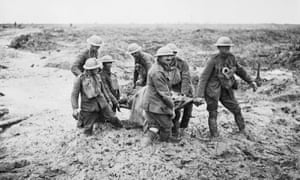 Stretcher-bearers struggle in mud to carry a wounded man to safety on Pilckem Ridge, Ypres, on 1 August 1917. The day before, Hedd Wyn had been killed in this area