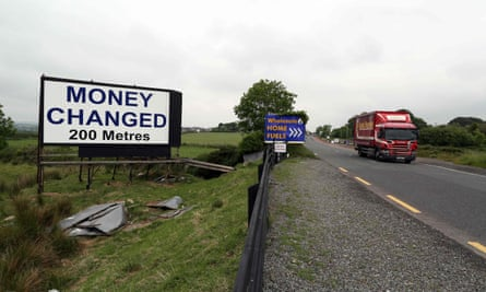 A 'money exchanged' sign at the border between Newry in Northern Ireland and Dundalk in the Republic of Ireland.