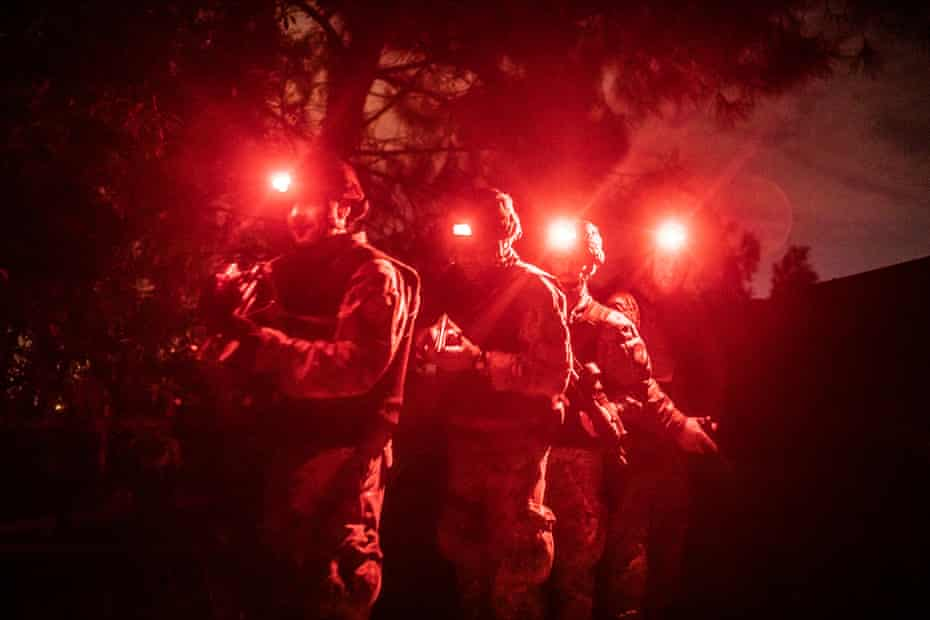 The Squadrone Carabinieri Eliportato or 'Cacciatori Calabria' during a night mission to a bunker house where a most wanted fugitive was able to escape in 2004 and captured in June 2016.