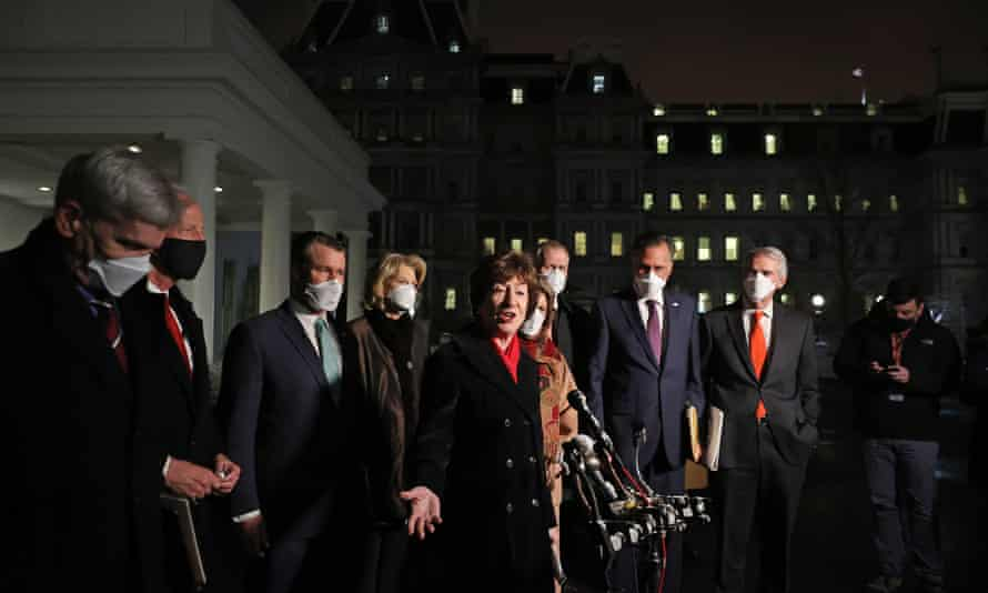 Susan Collins speaks outside the White House after a meeting with Joe Biden and Kamala Harris.