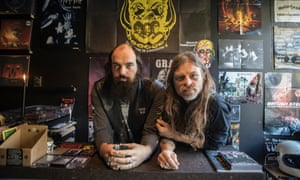Charlie Wooley, left, and Marcus Mustafa at Crypt of the Wizard Record Shop in Hackney, London.