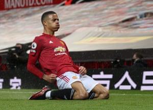 Mason Greenwood of Manchester United celebrates scoring their equaliser.