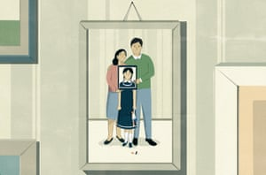 Illustration of picture hanging on wall of a couple and their daughter whose face is enclosed in another frame