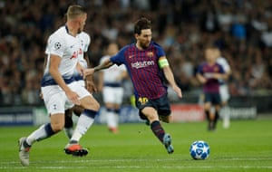 Lionel Messi scored twice but also hit the post twice in a sensational performance against Tottenham.