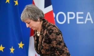 Theresa May in Brussels last week.