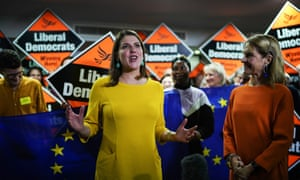 Jo Swinson addressing activists at a campaign rally in Somerset.